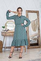 Легкое летнее штапельное платье миди, (40-46рр), декорировано рюшами, коричневые цв. на оливке, фото 1