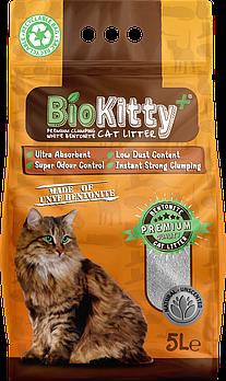 Наполнитель с белого бентонита BioKitty (Биокитти) 0,6-2,2 мм натуральный, 5 л