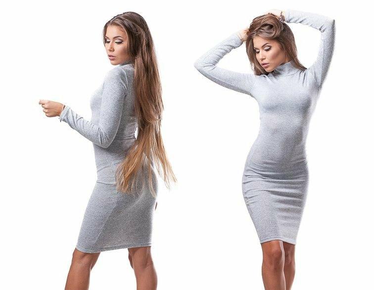 Женское трикотажное платье-футляр по колено, горло стойка, длинные рукава. Серый. 40,42,44,46