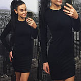 Женское короткое трикотажное платье с длинными рукавами, облегающее. Черный. 40, 42, 44 ,46, фото 2