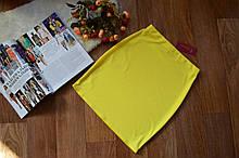 Женская трикотажная мини юбка, однотонная. Размеры 40, 42, 44, 46. Желтый