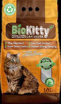 Наполнитель с белого бентонита BioKitty (Биокитти) 0,6-2,2 мм с алое вера, 10 л