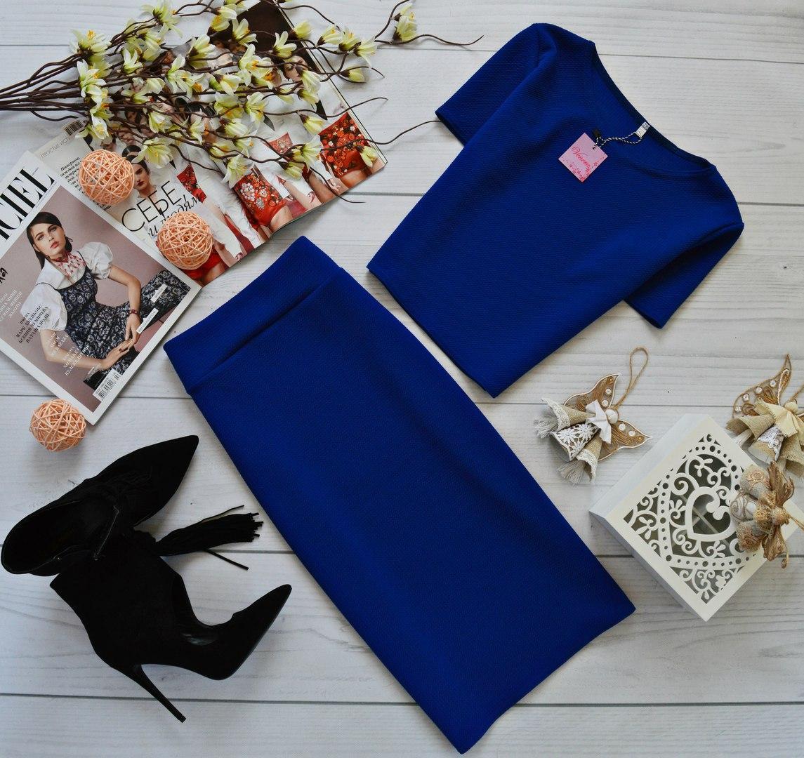 Жіночий літній обтягуючий костюм з фактурного трикотажу, топ зі спідницею-олівець. Розмір 40,42,44,46. Синій