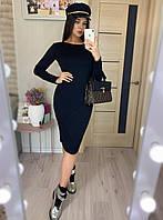 Трикотажное платье миди (с 40 по 46рр) с длинным рукавом, фото 1