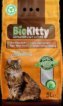 Наполнитель с белого бентонита BioKitty (Биокитти) 0,6-2,2 мм с ароматом алое вера, 5 л