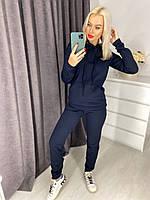 Женский спортивный костюм на флисе. Толстовка с капюшоном и карманом и штаны. Размер 48-50. Темно-синий