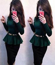 Трикотажна святкова жіноча блузка з баскою і довгими рукавами. Розмір 40,42,44,46. Смарагдова