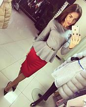 Трикотажная нарядная женская блузка с баской и длинными рукавами. Размер 48,50,52. Серая