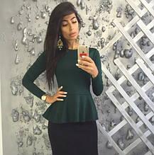 Трикотажная нарядная женская блузка с баской и длинными рукавами. Размер 48,50,52. Изумруд
