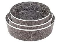 Набор круглых противней Lexical LG-640301-2 антипригарное гранитное покрытие, 3 противня 22/26/30см,шоколад