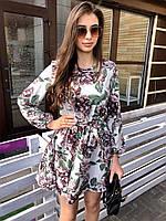 Короткое летнее платье, с резинкой на поясе, длинный рукав (40-46), принт -  пионы на белом, фото 1