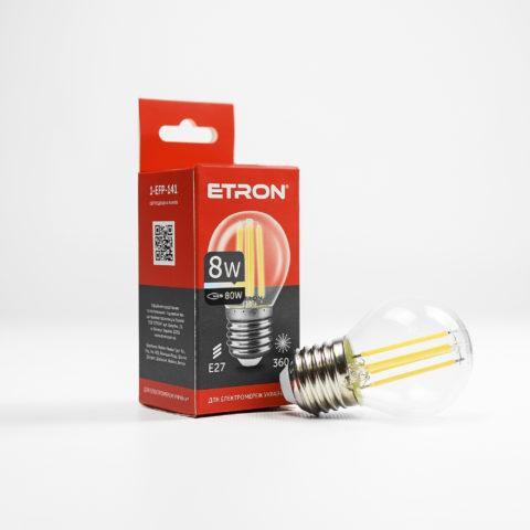 Винтажная LED лампа  Шарик  8W G-45 3000K E27 ETRON Filament 1-EFP-141