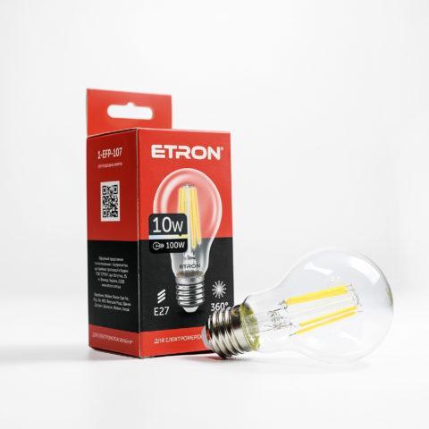 Вінтажна LED лампа Едісона 10W A60 3000K E27 ETRON Filament 1-EFP-107