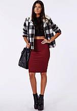 Стильная, обтягивающая трикотажная женская юбка-карандаш. Размеры 40,42,44,46. Бордовая