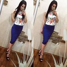Стильная, обтягивающая трикотажная женская юбка-карандаш. Размеры 40,42,44,46. Синий