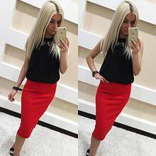 Стильная, обтягивающая трикотажная женская юбка-карандаш. Размеры 40,42,44,46. Красная
