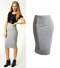 Стильная, обтягивающая трикотажная женская юбка-карандаш. Размеры 40,42,44,46. Серая
