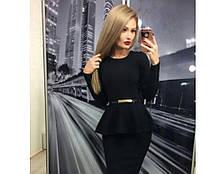 Трикотажная нарядная женская блузка с баской и длинными рукавами. Размер 48,50,52. Черный