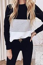 Жіночий светр, джемпер, кофта триколірна з довгим рукавом (40-42, 44-46). Чорна з сірим