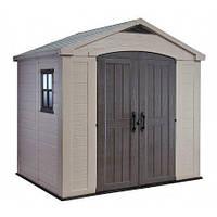Садовый хозблок для хранения KETER Factor 8х6 Indoor сарай пластиковый для инвентаря бежевый серо-коричневый