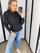 Женская теплая толстовка с капюшоном и карманом кенгуру на флисе. Размер 48-50. Графит (темно-серая)