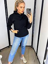 Жіноча тепла толстовка з капюшоном і кишенею кенгуру на флісі. Розмір 48-50. Чорний