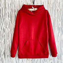 Женская теплая толстовка с капюшоном и карманом кенгуру на флисе. Размер 48-50. Красный