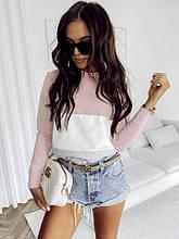 Стильна жіноча кофта з довгими рукавами і смужками, двухнитка. Розмір 48-50. Рожевий з білим