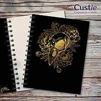 """Блокнот для рисования, скетчбук черный, декорированный золотом с белой бумагой """"RAVEN SCULL"""""""