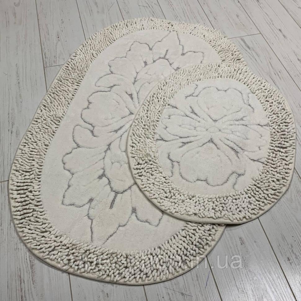 Набор мягких овальных ковриков для ванны из хлопка турецкие белые