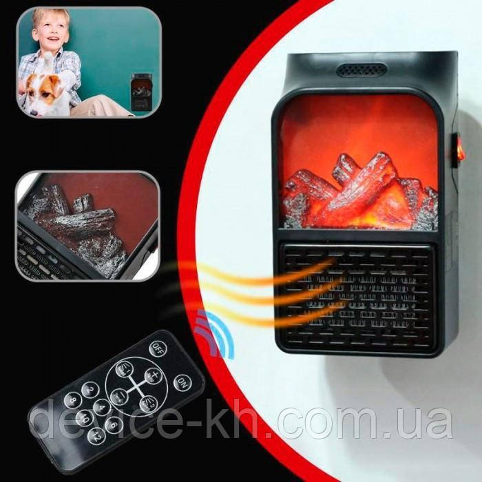 Портативний обігрівач з LCD дисплеєм Flame Heater Plus 500W з імітацією каміна