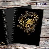 """Блокнот для рисования, скетчбук черный с золотым декором с черной бумагой """"RAVEN SCULL"""""""