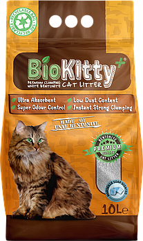 Наполнитель с белого бентонита BioKitty 0,6-2,2 мм аромат марсельского мыла, 10 л