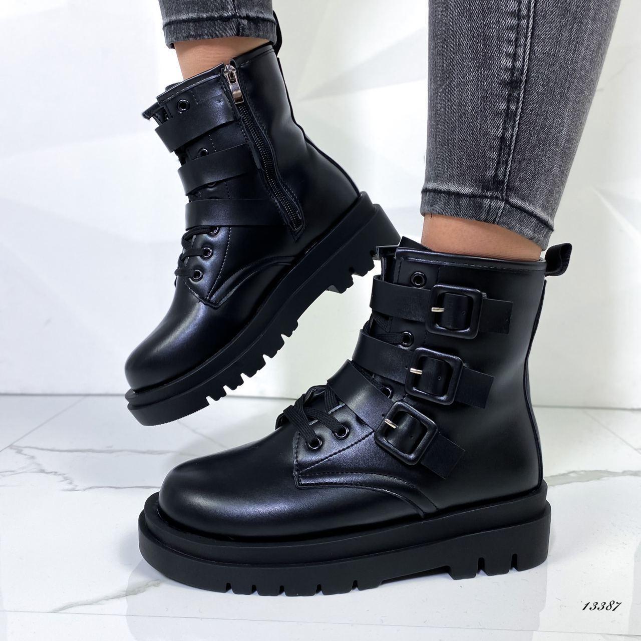 Ботинки женские эко-кожа чёрные