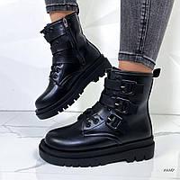 Ботинки женские эко-кожа чёрные, фото 1