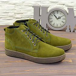 Чоловічі черевики на шнурівці, натуральна замша оливкового кольору