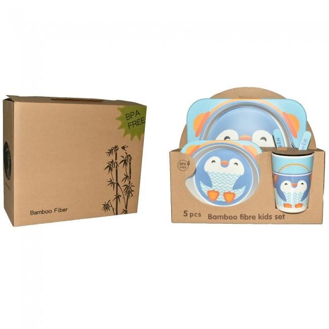 Набір дитячого посуду 5 предметів Пінгвін тарілка 175мм, салатник 155мм, чашка 230мл, вилка і ложка