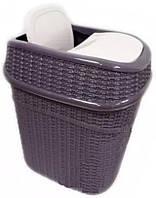 Ведро для мусора «Евровязка» 10 л с качающейся с крышкой коричневого цвета.