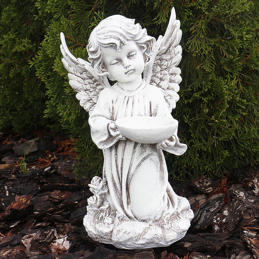 Статуэтка ангел с пиалой выполнена из качественного полимерного материала ручной работы