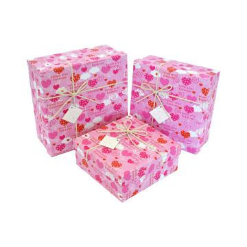 Набір подарункових коробок квадратних з бантом Sonilika 3шт