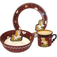 "Набор детский 3 предмета ""Пони"" чашка 240мл, тарелка 190мм, салатник 380мл"