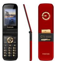 Телефон кнопочный раскладушка с батареей большой емкости и камерой на 2 sim Tkexun G3 red