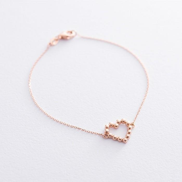 """Золотий браслет """"Закохане серце"""". б04464"""