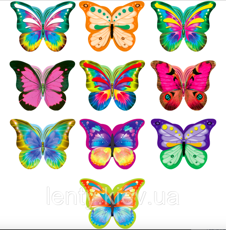 Набор бабочек №5 на двухстороннем скотче (40шт/уп-8 видов, маленькикая упаковка)