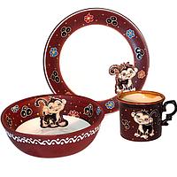 "Набор детский 3 предмета ""Милая обезьянка"" чашка 240мл, тарелка 190мм, салатник 380мл"