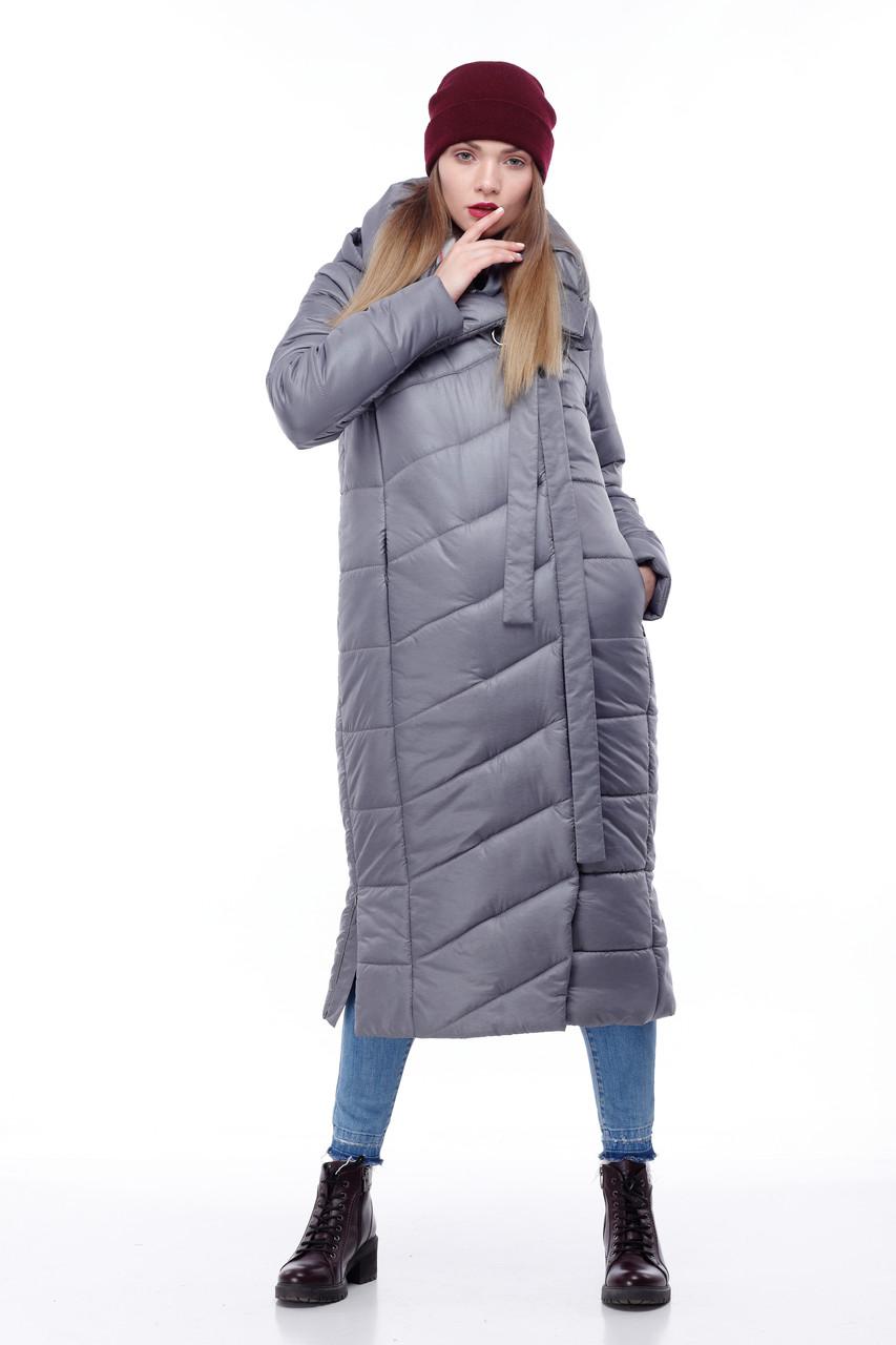 Зимняя женская куртка ORIGA Вероника удлиненная 48 Серый