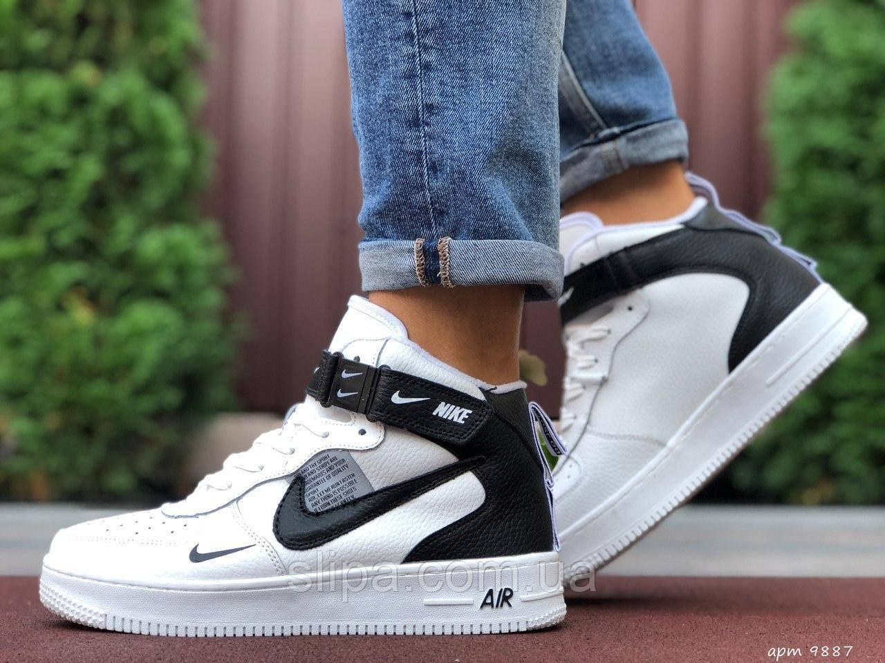 Мужские кожаные кроссовки Nike Air Force белые с чёрным лого (термо)