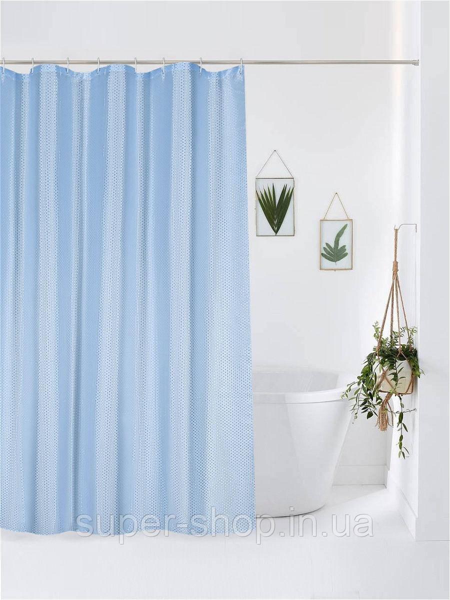 Штори на ванну і душову 180х180 однотонна піку блакитна діамант з кільцями
