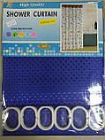 Шторка в ванную 180х180 см пика синяя в точечку без рисунка, фото 4