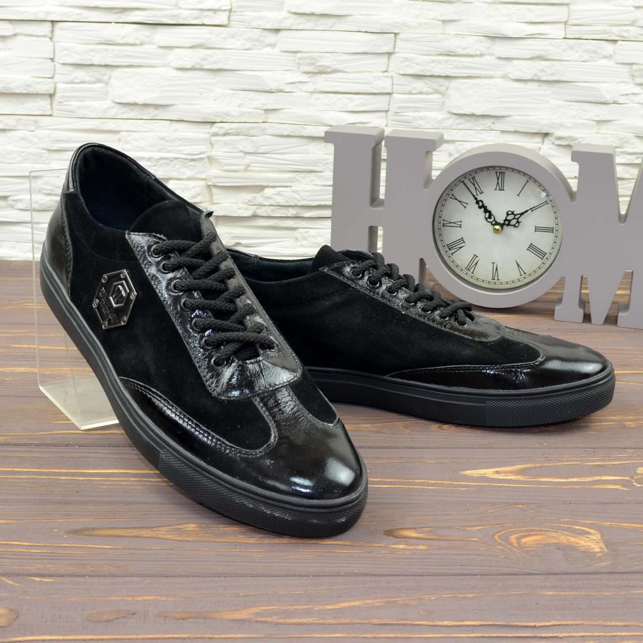 Кроссовки черные мужские на шнуровке, натуральная лаковая кожа и замша. 43 размер